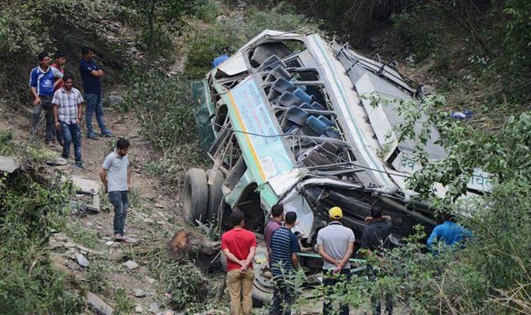 India bus crash: Coach falls off road killing 29 people en